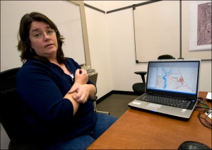 Lorraine Keith, public affairs officer for the Rock Springs BLM, discusses the lease requests for the Little Mountain area south of Rock Springs, Wyo., Monday, November 17, 2008. The Little Mountain parcels were ultimately removed from the auction. (Photo/Morgan E. Heim)