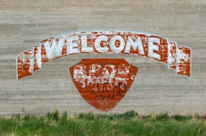 Sign painted inside the courtyard of the Wyoming Frontier Prison. (Photo/Morgan E. Heim)
