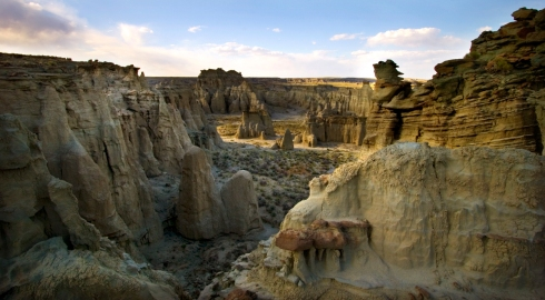 Hoodoos and labyrinthine canyons typify the Adobe Town landscape in Wyoming's Red Desert. The BLM designated 80,000 acres of Adobe Town a Wilderness Study Area, and a Citizens' Proposed Wilderness seeks to more than double the protected area's size. (Photo/Morgan E. Heim)